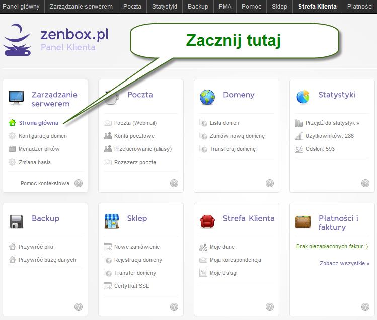 zenbox panel główny