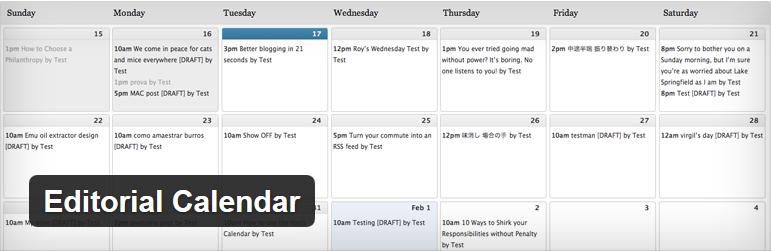 Editorial Calendar - 12 najlepszych wtyczek WordPress
